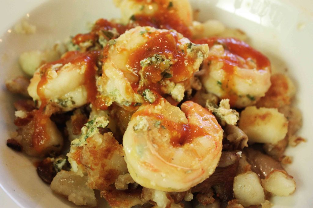 Shrimps popatoes and mushrooms 2